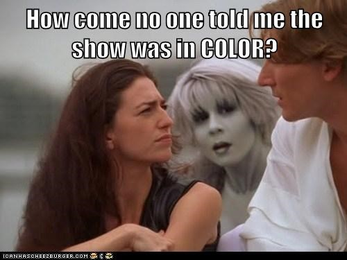 claudia black,color,gigi edgley,farscape,black and white,mistake,chiana,aeryn sun