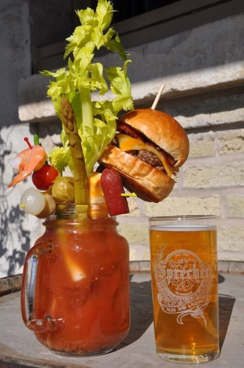 Early Morning Happy Hour,bloody mary,burger