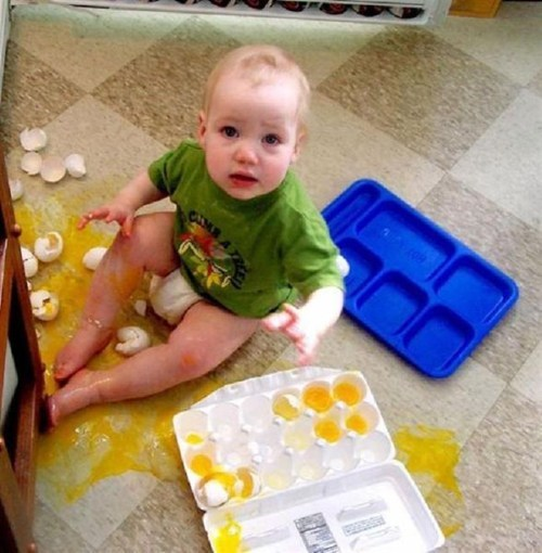 baby,eggs,messy kids