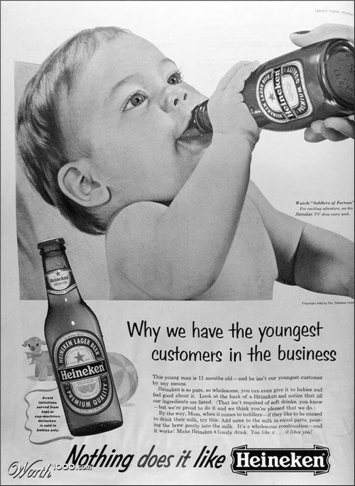 drinking ads,Heineken,tanked toddlers