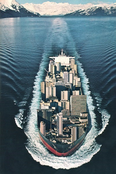 art,surrealism,skyline,seasteading