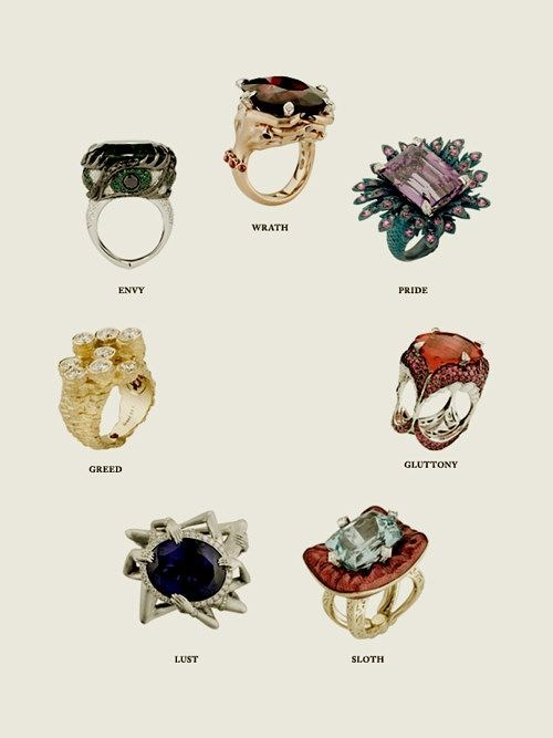 rings Jewelry seven deadly sins