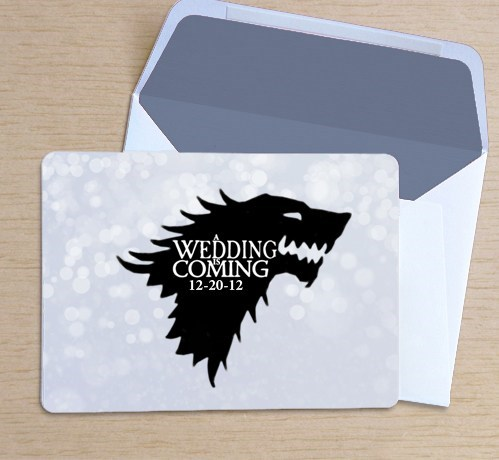 Game of Thrones stark save the date house sigil
