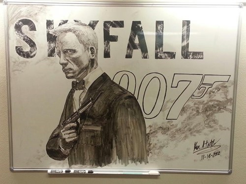 art,james bond,skyfall,whiteboard