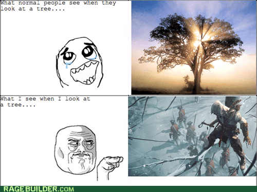 watching you,trees,video game,sneaky,assassins creed