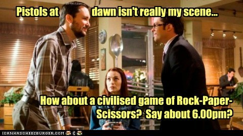 isaac parrish,Holly Martin,wil wheaton,neil grayston,Felicia Day,eureka,rock paper scissors,douglas fargo,pistols