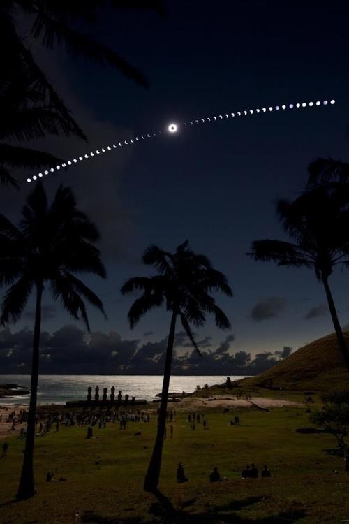 easter island,moon,eclipse,sun