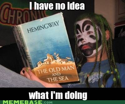 impossibru,reading,running,gamzee,hemingway,juggalo