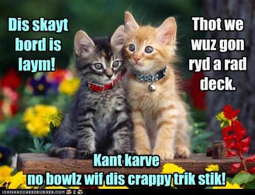 Thot we wuz gon ryd a rad deck. Dis skayt bord is laym! Kant karve no bowlz wif dis crappy trik stik! Kant karve no bowlz wif dis crappy trik stik!