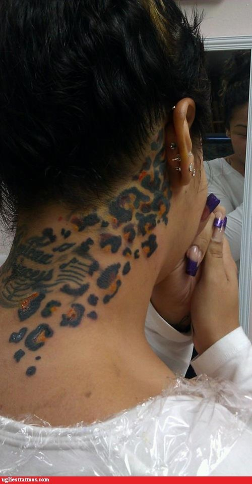 neck tattoos,leopard print