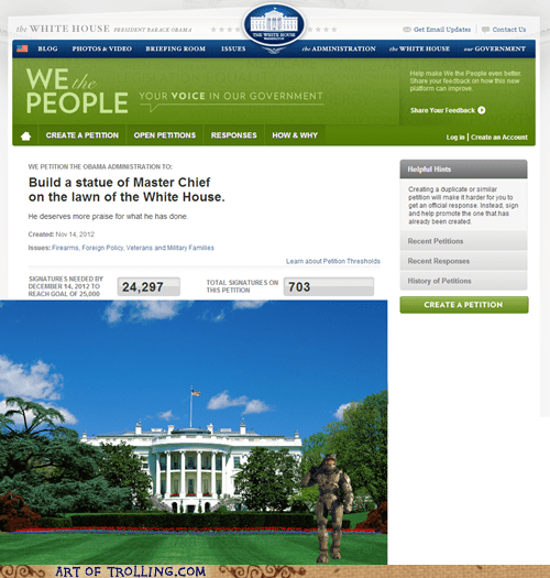master chief,whitehouse petitions,petitions,video games