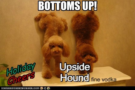 BOTTOMS UP! Cheers Upside Hound fine vodka Upside Hound Holiday