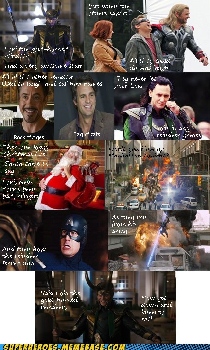 loki,rudolph the red nosed reindeer,avengers