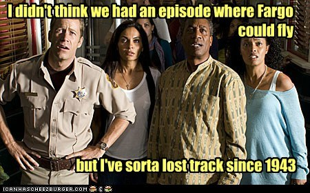 joe morton fargo 1940s allison blake jack carter alternate universe Colin Ferguson eureka confused henry deacon salli richardson-whitfield flying