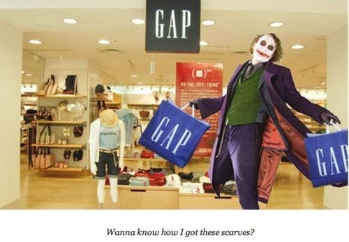 gap joker scarves scars