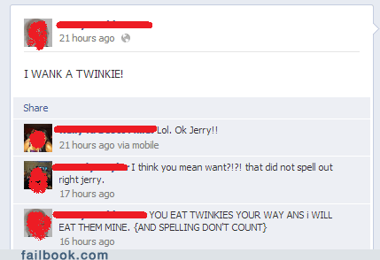 twinkie,wank a twinkie,spelling