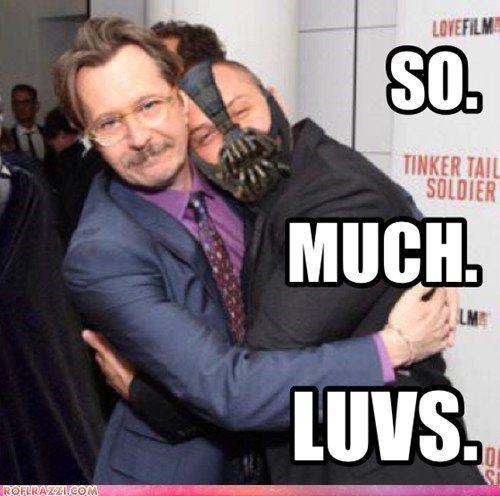premiere,Gary Oldman,the dark knight rises,hugging,bane,tom hardy,luvs