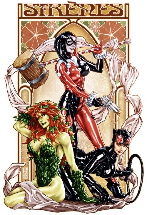 Sexy Ladies art villains catwoman Harley Quinn poison ivy - 6785369600
