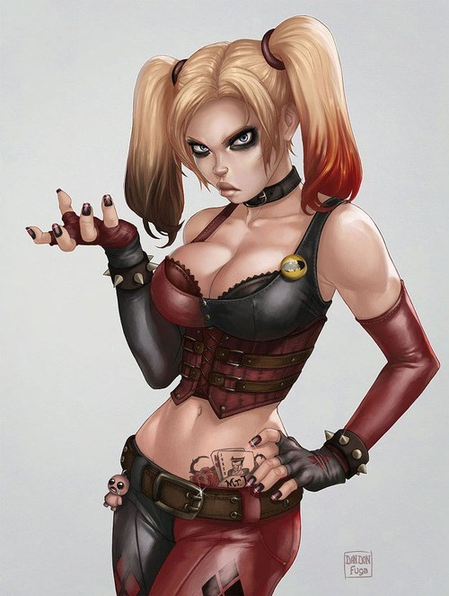 art,awesome,arkham city,Harley Quinn