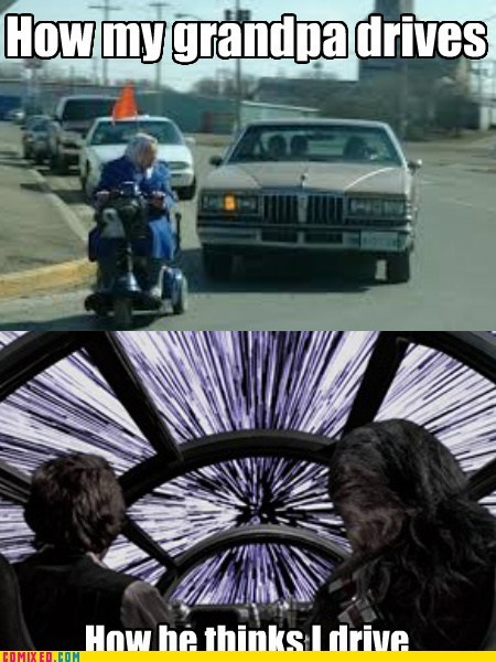 star wars,driving,Grandpa,kessel run