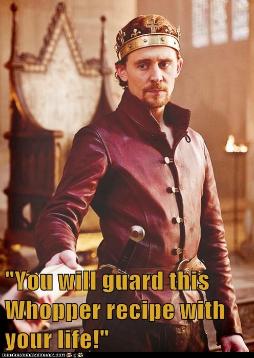 tom hiddleston,recipe,henry v,the hollow crown,whopper,burger king