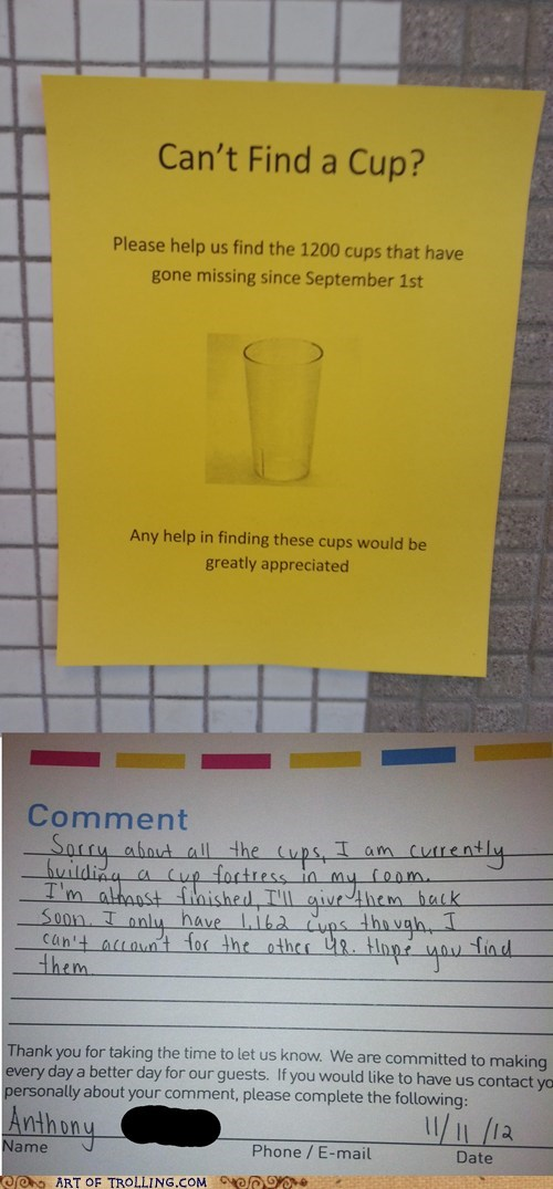 missing sign cups IRL truancy story