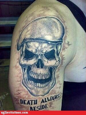 misspelled tattoos,skull,deathm lost in translation
