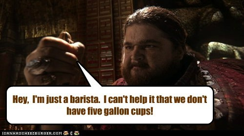 the giant,Jorge Garcia,once upon a time,barista,too small,supersize