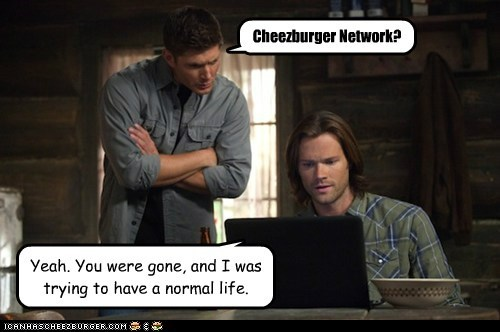 cheezburger,gone,jensen ackles,dean winchester,computer,sam winchester,Jared Padalecki,normal life