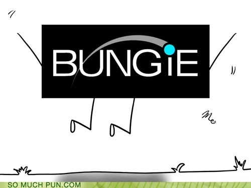 logo,bungie jumping,literalism,bungie,company,double meaning,jumping