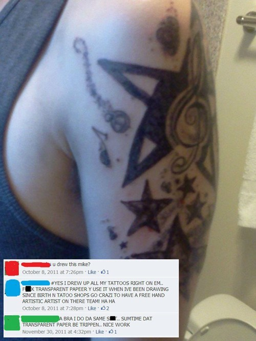 arm tattoos,treble clef,facebook,stars