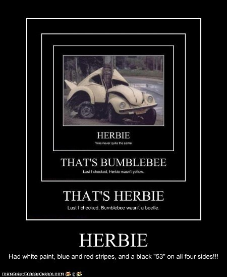 "HERBIE Had white paint, blue and red stripes, and a black ""53"" on all four sides!!!"