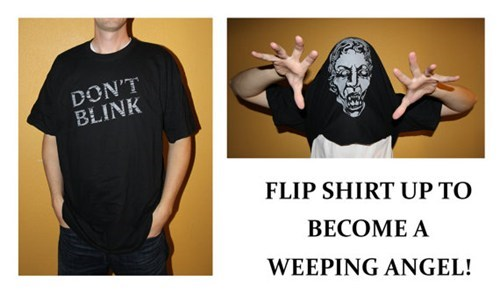 weeping angel blink doctor who shirt flip - 6789142272