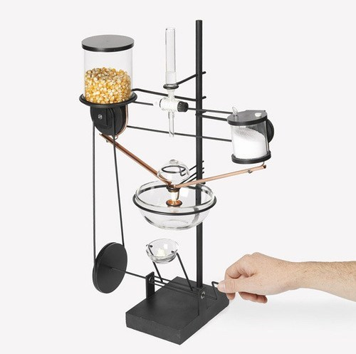 contraption,Popcorn,one at a time,complicated,machine