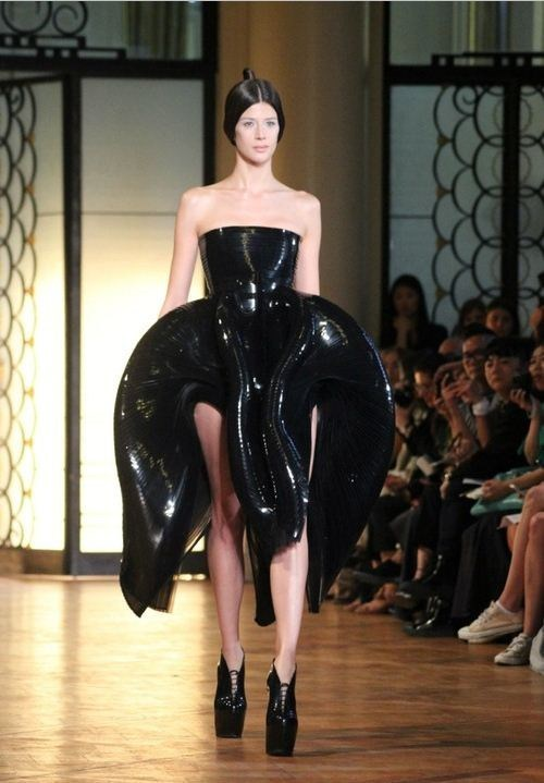 fashion shiny alien style liquid dress black