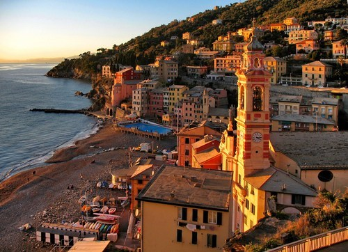 Italy,cityscape,beach,sunrise