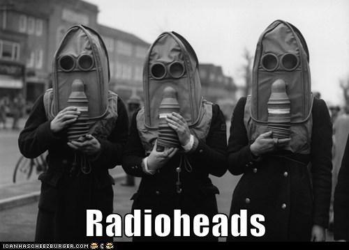 gas masks,radios,radiohead