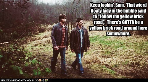 the wizard of oz,jensen ackles,Supernatural,dean winchester,follow the yellow brick road,sam winchester,Jared Padalecki