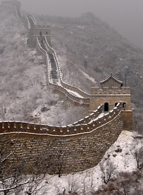 snow,great wall of china,winter