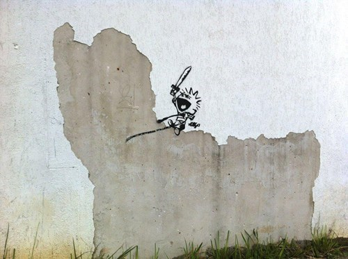 calvin and hobbes Street Art graffiti - 6789577472