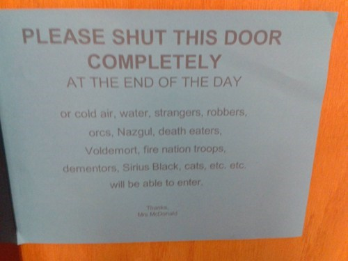 warning,sign,school,Harry Potter,Lord of the Rings,nerdgasm
