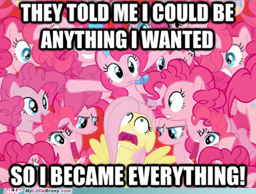 pinkie pie,all the things,fluttershy,too many pinkie pies