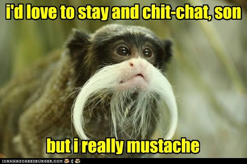 chit-chat mustache monkeys hairy pun dash