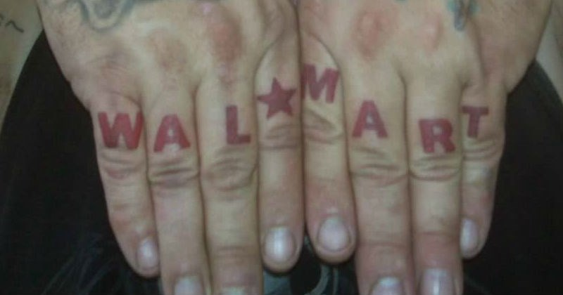 cover image of a tattoo fail that says Walmart across someones fingers