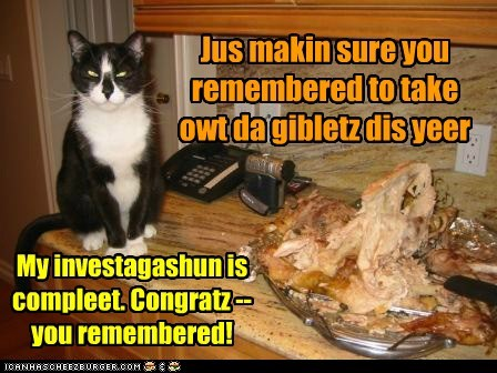 Jus makin sure you remembered to take owt da gibletz dis yeer My investagashun is compleet. Congratz -- you remembered!