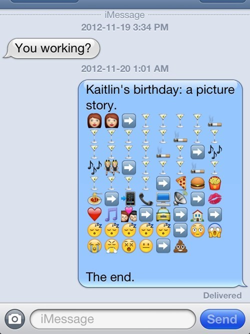 birthday,went well,emoticons,too drunk,stories