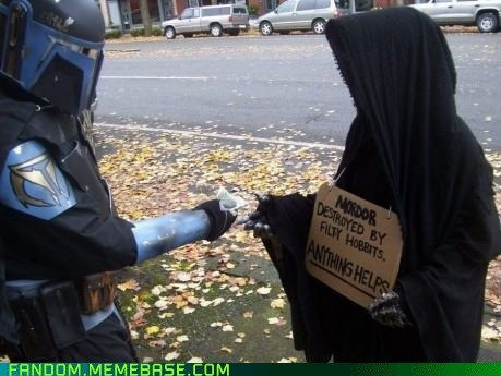sign,cosplay,star wars,Lord of the Rings,homeless