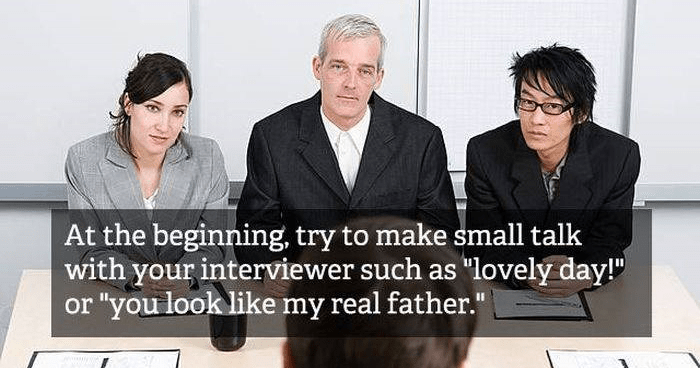 Funny job interview tips.