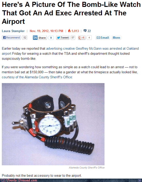 bomb airport wristwatch TSA news story