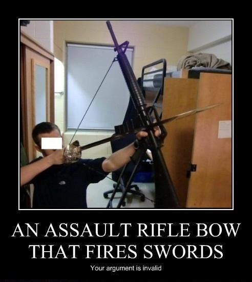 bow and arrow,assault rifle,rifle,bow,swords,sword bow